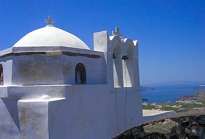Photograph - Santorini Hilltop Chapel by Bonnie Leigh Delar
