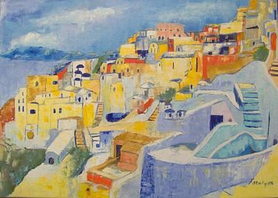 Santorini Art Print by Maria Karalyos
