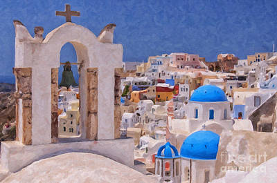 Christian Artwork Digital Art - Santorini Oia Belltower Digital Painting by Antony McAulay