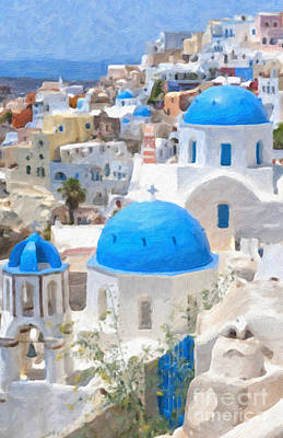 Oil Dome Painting - Santorini Oil Painting by Antony McAulay