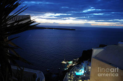 Photograph - Santorini Port At Night by Haleh Mahbod