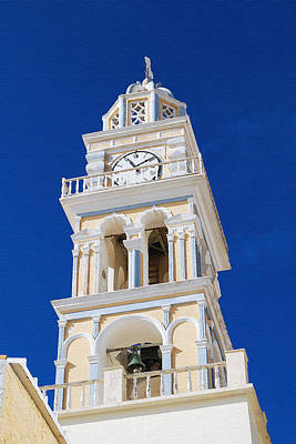 Digital Art - Santorini Roman Catholic Church Clock Tower by Eva Kaufman