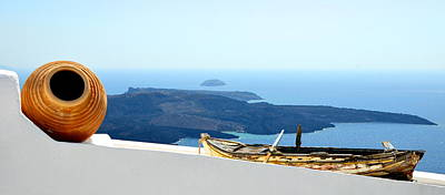Photograph - Santorini Rooftop by Corinne Rhode