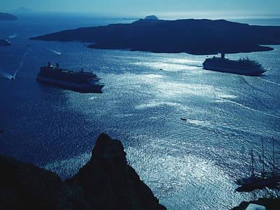 Art Print featuring the photograph Santorini  Silent Night View Greece by Colette V Hera  Guggenheim