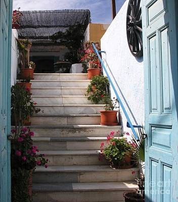 Santorini Steps Art Print by Mel Steinhauer