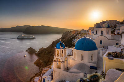 Photograph - Santorini Sunset Cruise by Brian Grzelewski