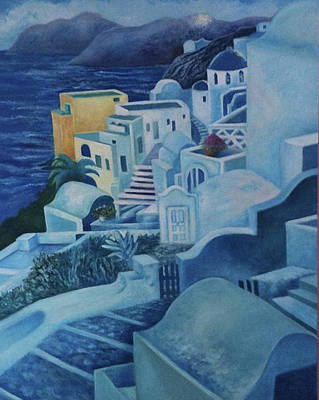 Painting - Santorini Sunset by Kandy Cross