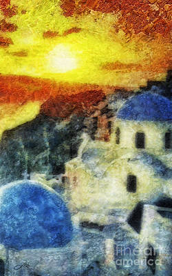Greece Mixed Media - Santorini Sunset by Mo T