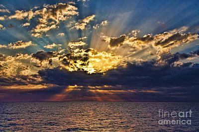 Art Print featuring the photograph Santorini Sunset by Shirley Mangini
