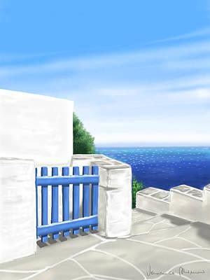 Island Painting - Santorini by Veronica Minozzi