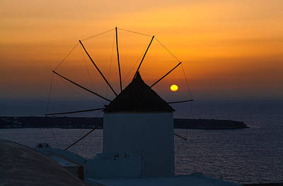 Santorini Windmill Sunset Art Print