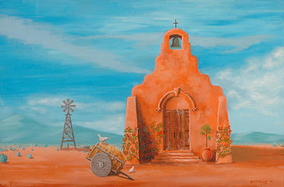 Mexican Landscape Painting - Santuario by Jerry McElroy
