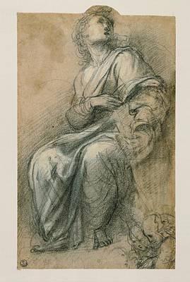 On Paper Photograph - Sanzio Raffaello, Male Figure Wrapped by Everett