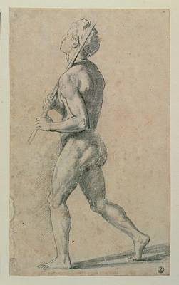 Torsion Photograph - Sanzio Raffaello, Male Nude Walking by Everett