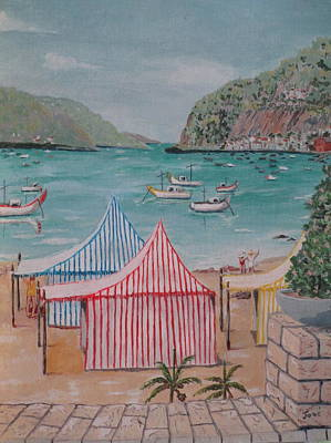 Art Print featuring the painting Sao Martinho Do Porto by Hilda and Jose Garrancho