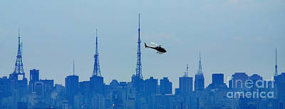 Photograph - Sao Paulo - Paulista Skyline And Helicopter by Carlos Alkmin