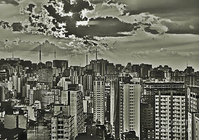 Sao Paulo At A Cloudy Spring Dusk - Downtown Looking Towards Paulista Art Print by Carlos Alkmin