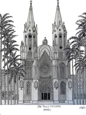 Drawing - Sao Paulo Cathedral by Frederic Kohli