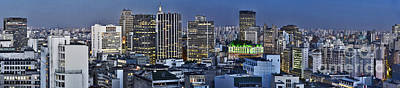 Photograph - Sao Paulo Downtown At Dusk - Big Skyline - Famous Buildings by Carlos Alkmin