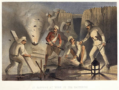 Battle Of Franklin Photograph - Sappers At Work In The Batteries by British Library