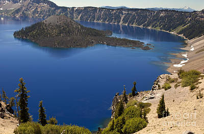 Photograph - Sapphire Blue Crater Lake by David Millenheft