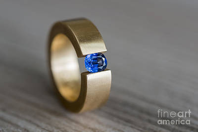 Solitaire Ring Photograph - Sapphire Ring by Mats Silvan