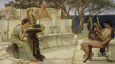 Crowds Painting - Sappho And Alcaeus by Sir Lawrence Alma-Tadema
