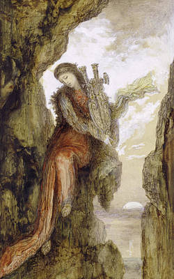 Moonlit Painting - Sappho On The Cliff by Gustave Moreau