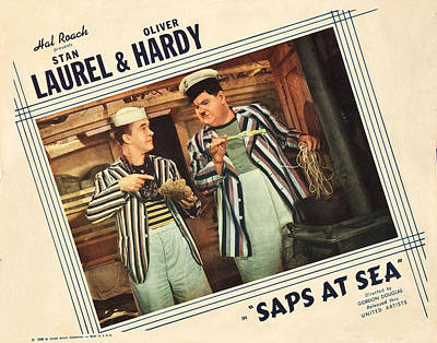 Saps At Sea, Us Lobbycard, From Left Art Print by Everett