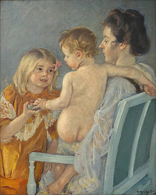 Painting - Sara Handing A Toy To The Baby by Celestial Images