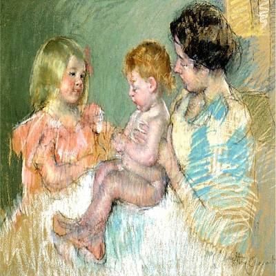 Painting - Sara N Her Mother With Baby by Florene Welebny