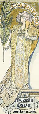 Sarah Bernhardt Art Print by Alphonse Marie Mucha