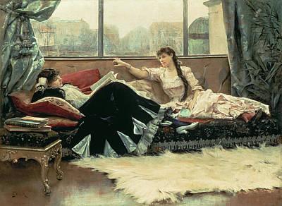 Sarah Bernhardt And Christine Nilsson Art Print by Julius Leblanc Stewart