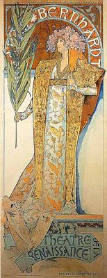 Mucha Painting - Sarah Bernhardt Theatre Poster By Mucha by Philip Ralley