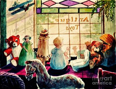 Shop Window Painting - Sarah's Bear by Marilyn Smith