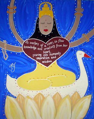 Painting - Sarasvati by Angela Yarber