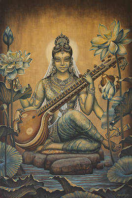 Indian Art Painting - Sarasvati Shakti by Vrindavan Das