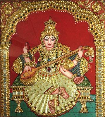 Ancient Indian Art Painting - Saraswathi  by Jayashree