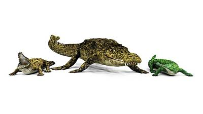 Trio Photograph - Sarcosuchus And Crocodiles by Walter Myers