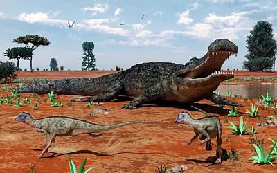 Paleobotany Photograph - Sarcosuchus And Ornithopoda by Walter Myers