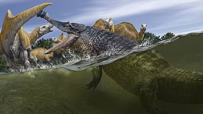 Sarcosuchus, Artwork Art Print by Science Photo Library