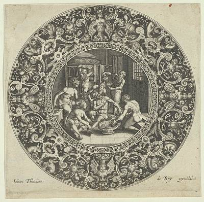 Theodor De Bry Drawing - Sardanapal In The Bath by Johann Theodor de Bry