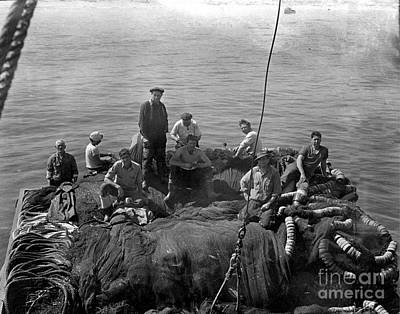 Photograph - Sardine Fishermen Sitting On Nets On The Turn-table On The Back Of The Boat 1930 by California Views Mr Pat Hathaway Archives