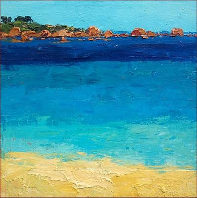 Italian Night Life Painting - Sardinian Blue Sea - Italy by Agostino Veroni