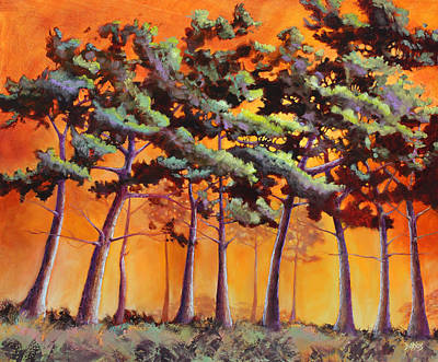 Firey Sunset Painting - Sardis Pines by Sue  Darius