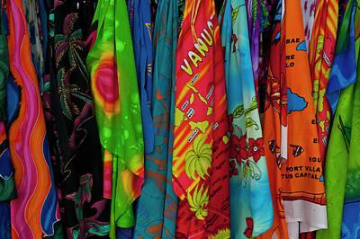 Sarongs For Sale In Port Vila, Island Art Print by Michael Runkel