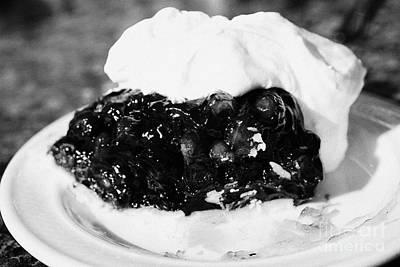saskatoon berry pie with whipped cream Saskatchewan Canada Art Print by Joe Fox