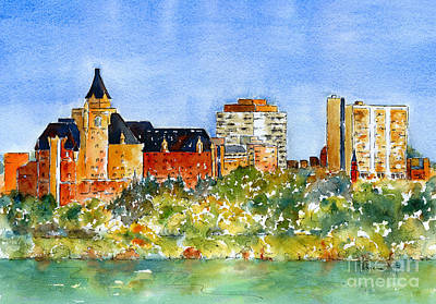 Ink Painting - Saskatoon Panorama by Pat Katz
