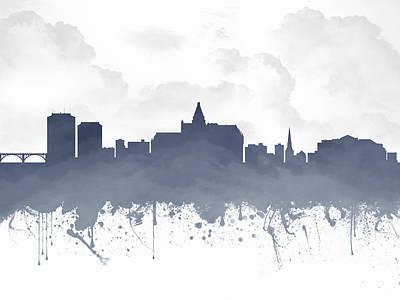 Saskatoon Saskatchewan Skyline - Blue 03 Print by Aged Pixel