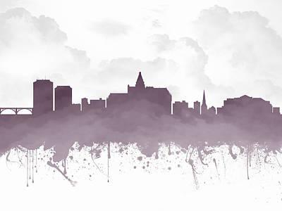 Saskatoon Saskatchewan Skyline - Purple 03 Print by Aged Pixel